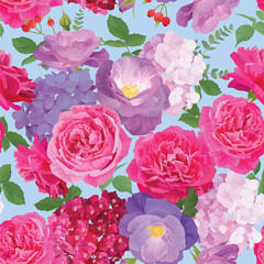 Seamless pattern rose and hydrangea flowers on blue background template. Vector set of blooming floral for holiday's background, wedding invitations, greeting card and fashion design.