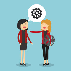 Business teamwork with gears vector illustration graphic design