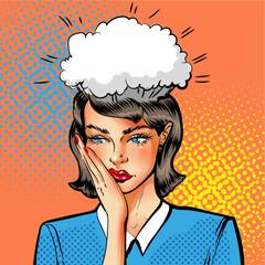 Vector pop art illustration of woman having problems
