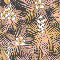 Vintage tropical flower pattern vector seamless with frangipani and strelicia. Trendy nature background. Exotic print design for spa wallpaper, wrapping paper, fashion fabric or cosmetic package.