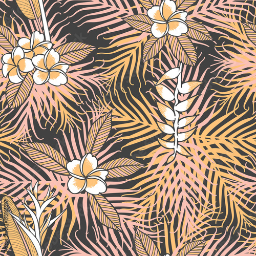 Vintage Tropical Flower Pattern Vector Seamless With Frangipani And