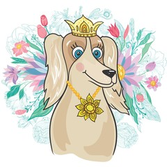 Vector Royal Dog with Flower Bouquet