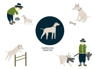bird hunter and hunting dog vector illustration