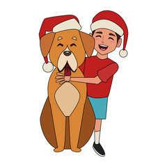 Boy and dog with christmas hats icon vector illustration graphic design