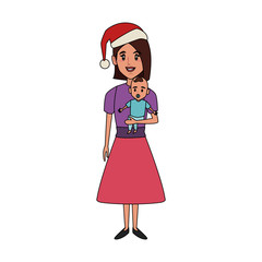Mom with baby on christmas season icon vector illustration graphic design