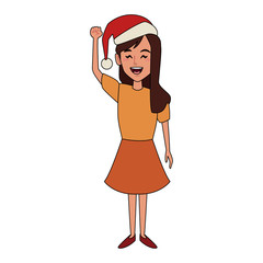 Girl with christmas hat cartoon icon vector illustration graphic design