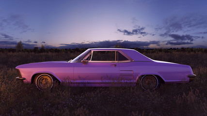Pink 1970s American Classic Car in a Field at Sunset 3d Illustration