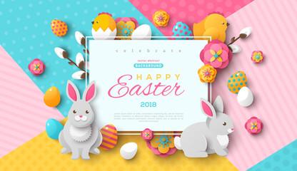 Easter square frame