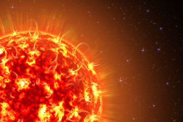 An image of a detailed sun in space. Star, solar storm. The power of the sun in the space with Plasma Background