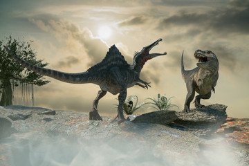 3D Illustration of a battle between two prehistoric dinosaur
