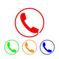 Phone icon, sign. Handset. Vector illustration. Flat design. Colorful set on white background.
