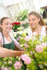 Florist making a sale