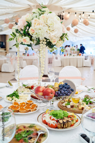 Table Setting At Luxury Wedding Reception Beautiful Flowers On