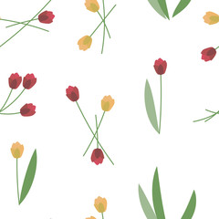 red and yellow spring fresh bright tulips with green leaves seamless pattern