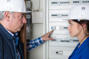 Man showing fusebox to apprentice