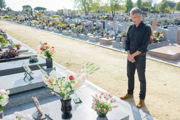mourner in  a cemetary
