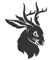 Wall Mural - Jackalope black head