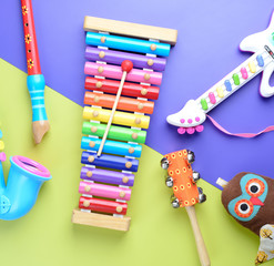 toy Musical instruments on wooden background