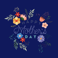 happy mothers day handmade font postcard vector illustration design