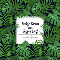 Wedding marriage event invitation card template. Exotic tropical jungle rainforest bright green palm monstera, sago, areca leaves border frame