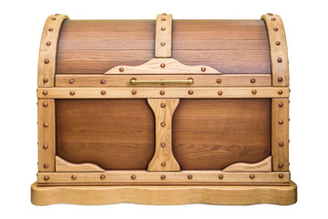wooden chest with closed lid, wood oak, isolated on white background