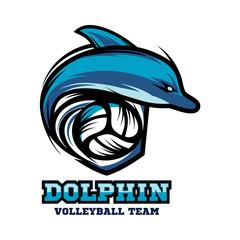 Dolphin Volleyball Logo Vector