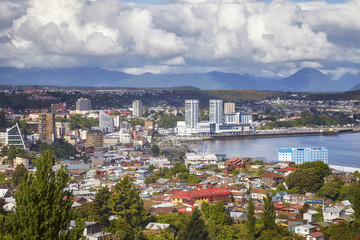 General view of the Puerto Montt port city, Chile.