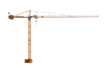 real high construction crane ready to work isolated on white background