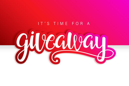 Giveaway Banner Card with Lettering. Red design.