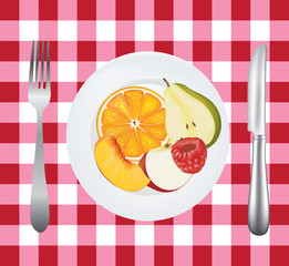 Fruits in a plate on picnic tablecloth, vector