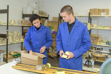 placing the product in the box