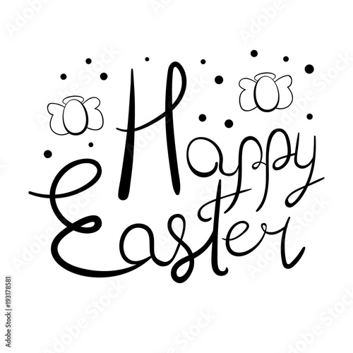 Festive Easter lettering with egg-shaped angels and polka dot elements
