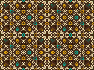 Abstract seamless geometric pattern in Arabic, Oriental style. Seamless pattern in islamic style. Seamless vector background. Colorful brown, yellow, blue. AI10.