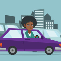 Angry african-american woman in car stuck in a traffic jam. Irritated young woman driving a car in a traffic jam. Agressive driver honking in a traffic jam. Vector cartoon illustration. Square layout.