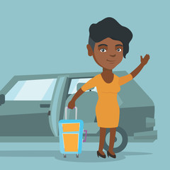 African-american woman with a suitcase standing on the background of car with open door. Young woman waving in front of car. Woman going on vacation by car. Vector cartoon illustration. Square layout.