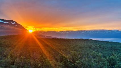 Midnight sun in Abisko National Park, Sweden