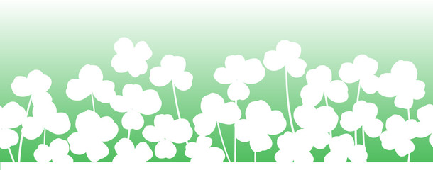 St. Patrick's day vector horizontal seamless background with shamrock leaves.