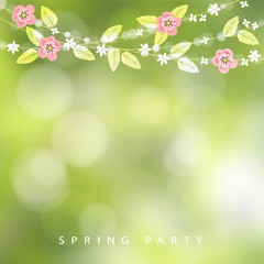 Spring, Easter greeting card, invitation. String of bokeh lights, leaves and cherry blossoms. Modern blurred background. Garden party decoration.