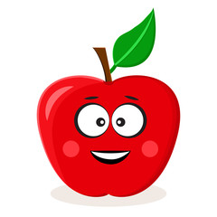 Cartoon red apple. Fruit emoticon. Stylized character. Vector illustration