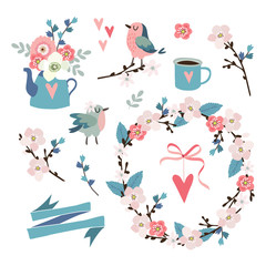 Set of spring, Easter or wedding icons, clip-arts. Flowers, cherry blossoms, birds , floral wreath, hearts and pink ribbon. Isolated vector objects.