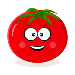 Cartoon red tomato. Vegetable emoticon. Stylized character. Vector illustration