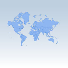 Blue detailed worldmap isolated on white blue gradient background.