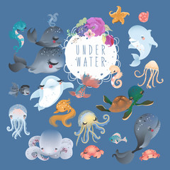 The set of cute sea, ocean, underwater animals - whale, dolphin, octopus, jellyfish, crab, fish, starfish and turtle