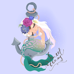 Cute dreaming mermaid sittig on anchor in floral, flowers wreath, bouquet, pearl beads, tied bow and lettering