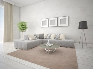Mock up a fashionable living room with a gray corner sofa on a light hipster background.