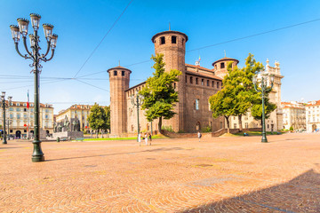 Turin, Piedmont, Italy, 18 August 2017. castle square in Turin, Piedmont,  Italy