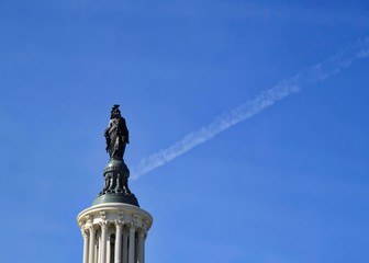 Freedom Statue atop the U.S. Capitol Building in Washington, D.C.