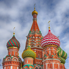 Colorful domes at Saint Basil's Cathedral in Moscow, Russia