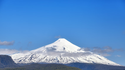 Panoramic view of the Villarrica volcano, Chile.