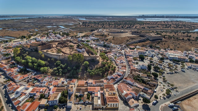 Aerial. Ancient walls of the military settlement of the castle Castro Marim
